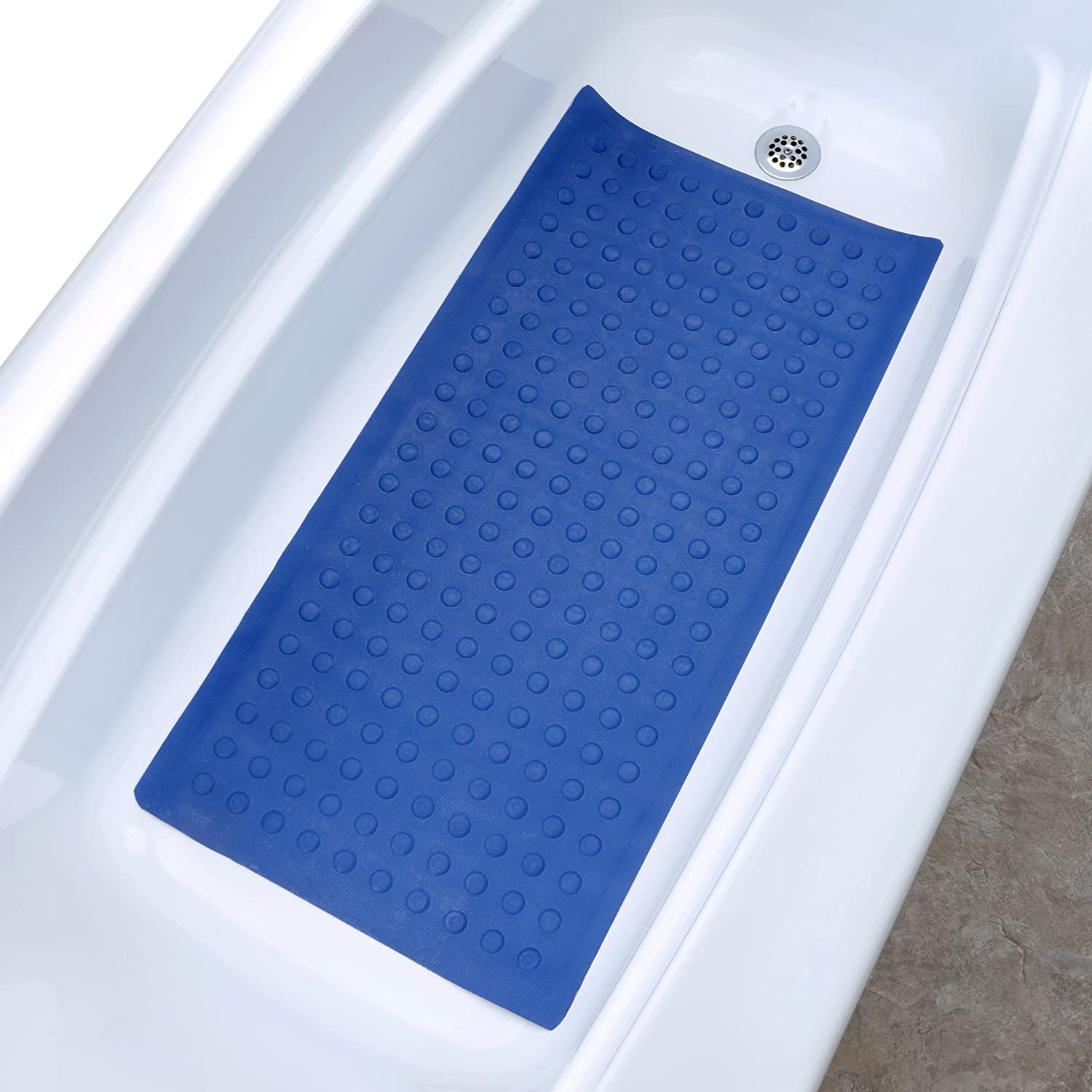 Amazon.com: SlipX Solutions Blue Extra Long Rubber Bath Safety Mat ...