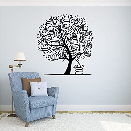 Books tree wall vinyl decal school library education wall sticker classroom interior living room window decals