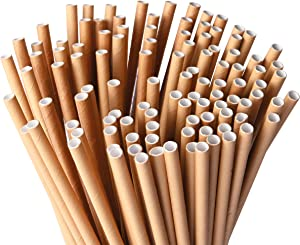 Single-Use Disposable Paper Straws (100 Count) - For Cold Drinks, Fits Most Beverage Cups and Containers, Restaurant Supplies for Fast Food, Takeout, To-Go, Delivery and Party Supplies, Kraft