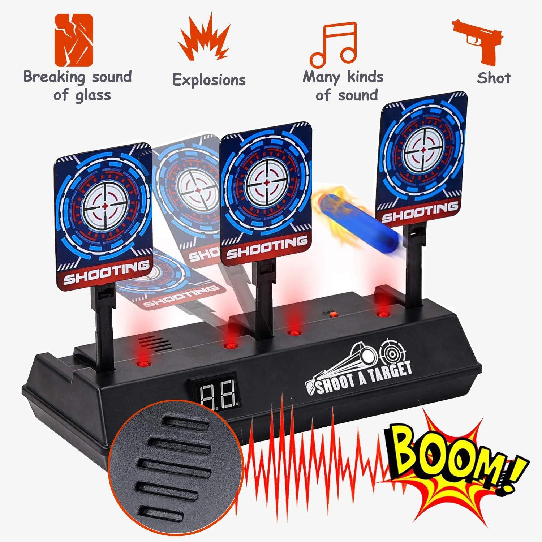 Electric Scoring Target for Nerf Guns, Auto-Reset Intelligent Light Sound Effect Digital Shooting Target for Nerf N-Strike Elite/Mega/Rival Series for Kids, Boys (Only Target)