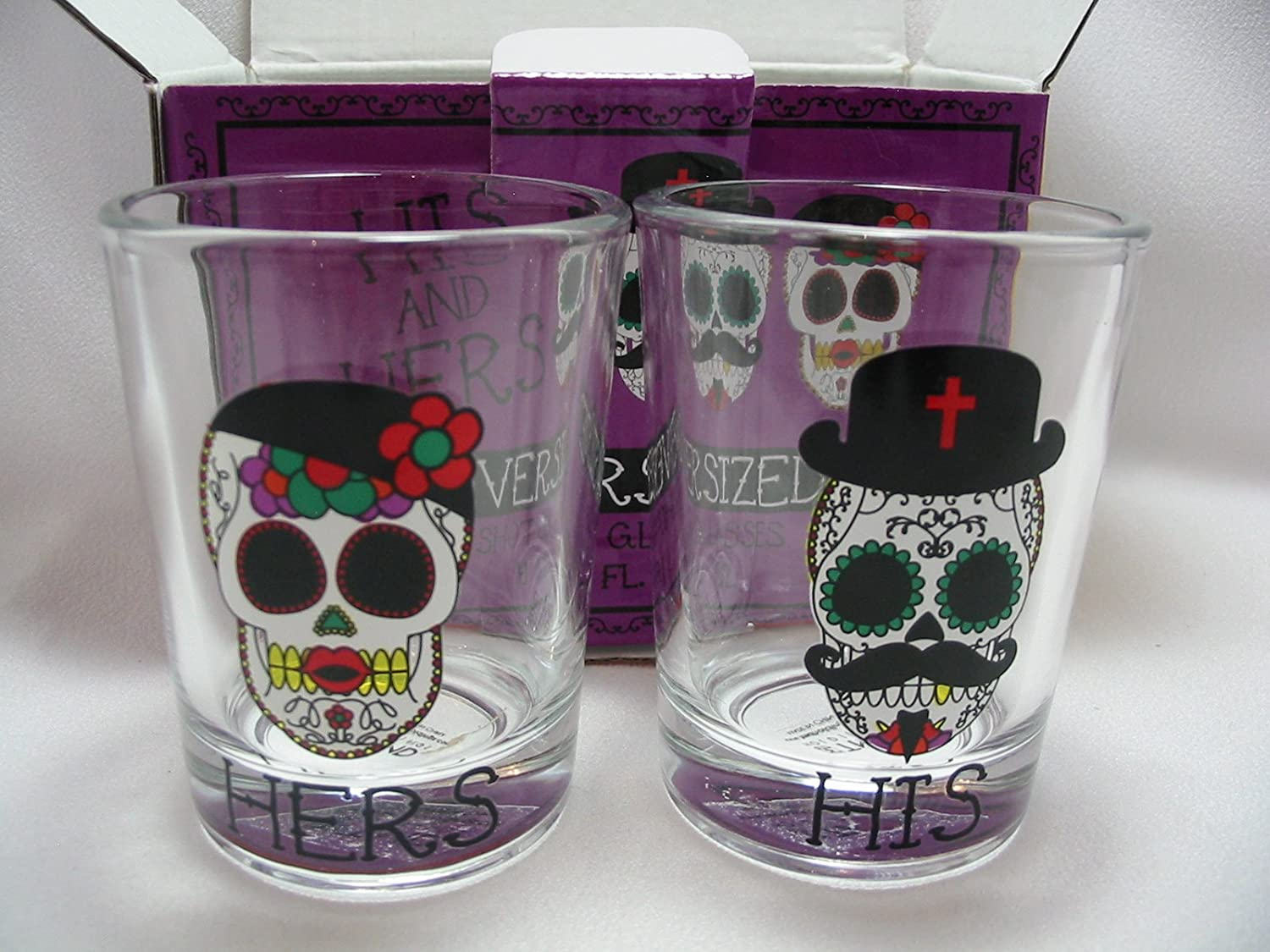 Day Of The Dead Wedding Gifts: His And Hers Sugar Skulls Oversize Shot Glasses Day Of The