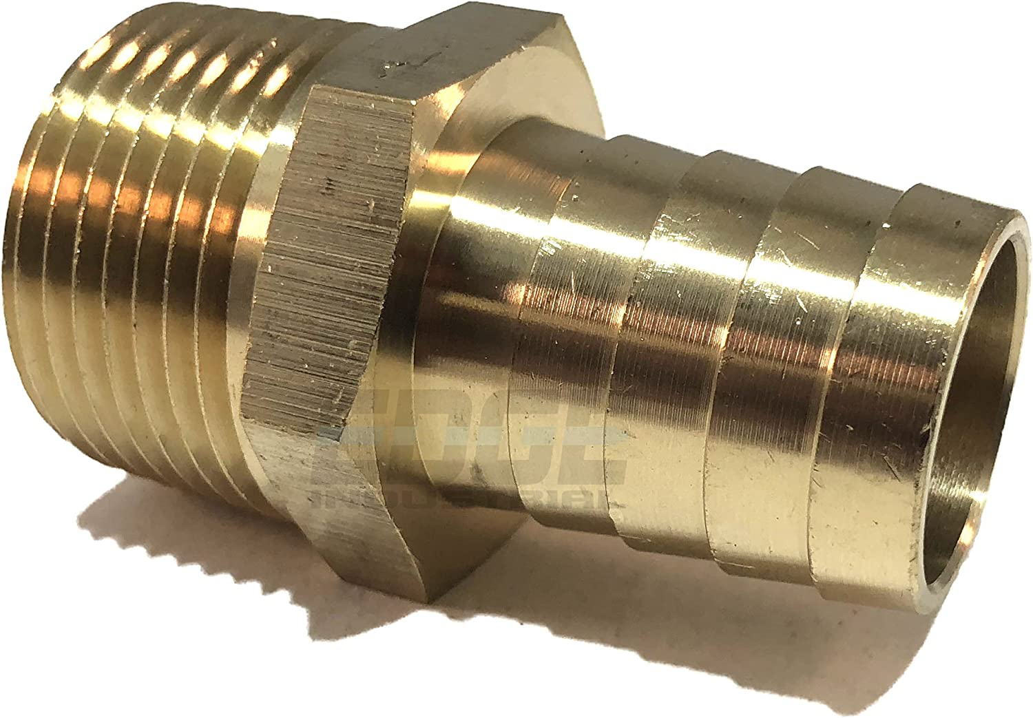"""EDGE INDUSTRIAL 3/4"""" Hose ID to 3/4"""" Male NPT MNPT Straight Brass Fitting Fuel / AIR / Water / Oil / Gas / WOG (Qty 1)"""