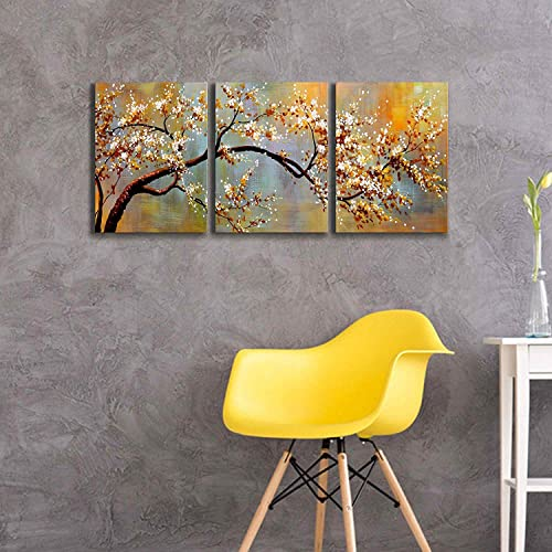 Canvas Wall Art Pictures Decor Ready to Hang Floral Artwork for Walls Home Decorations for Living Room Exquisite Yellow Plum 3 Piece Wall Artwork Framed