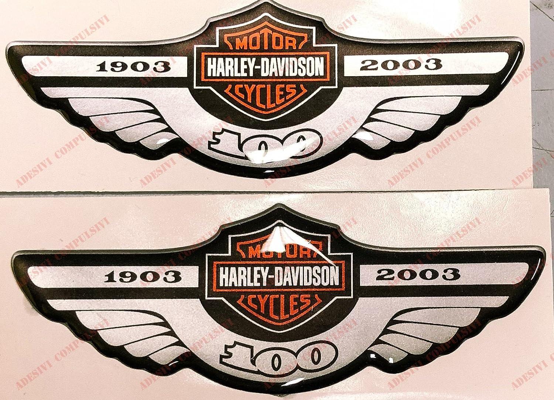 Adesivi Compulsivi - Adhesivos resinados con el emblema/logotipo de Harley Davidson - Logotipo clá sico con calavera - Juego de pegatinas resinadas con efecto 3DPara tanque o casco.