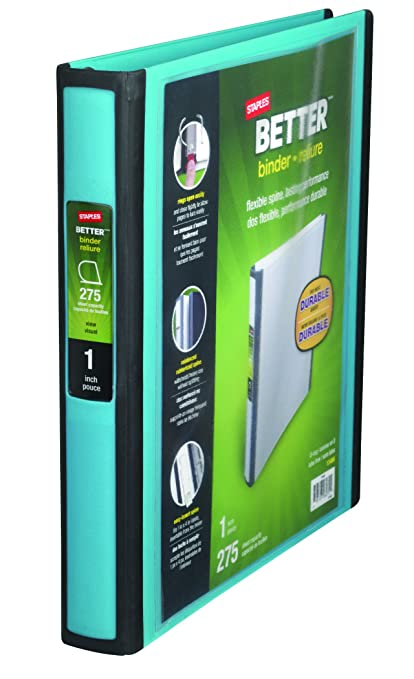 amazon com staples better 1 inch d 3 ring view binder teal 13466