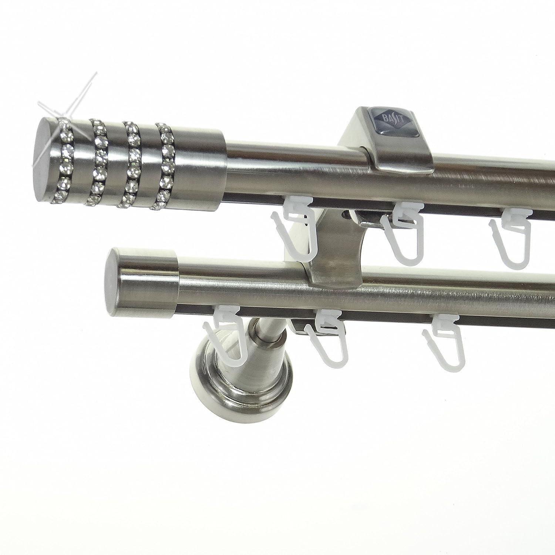 Innenlauf Edelstahl Look Gardinenstange 20mm Wandträger 2-läufig Kristall Zylinder H60 E39E30 II, Länge 280 cm