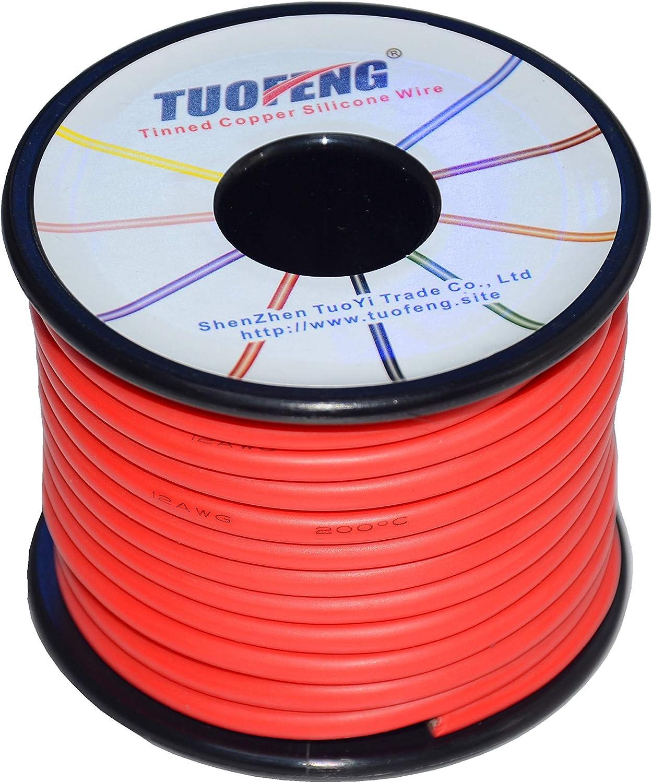 fil de silicone 8AWG 10 m noir et 10 m rouge C/âble de raccordement flexible avec c/âble en cuivre /étam/é C/âble /électrique TUOFENG de calibre 8