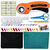 96 PCS Rotary Cutter Kit, 45mm Rotary Cutter Tool Kit with 5 Extra Blades, Cutting Mat, Patchwork Ruler, Carving Knife…