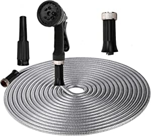ActionEliters Garden Hose with 8 Function Nozzles, Lightweight Expandable Water Hose Kink-Free Double Latex Core Flexibility Outdoor Hose 50ft