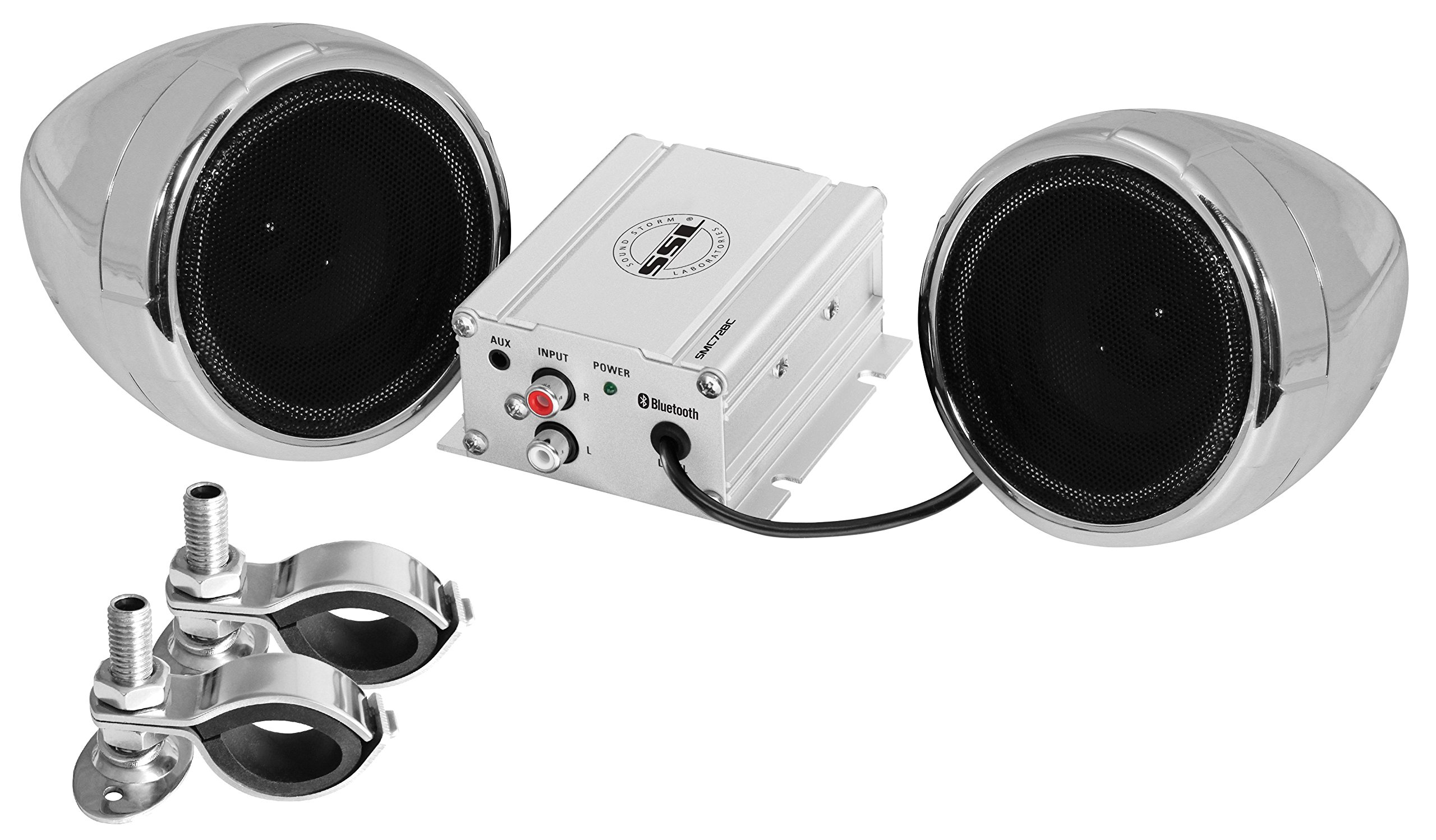 Sound Storm SMC72BC Sound System, Weatherproof, Bluetooth Amplifier, 3 Inch Speakers, Inline Volume Control, Ideal for Motorcycles/ATV and 12 Volt Applications