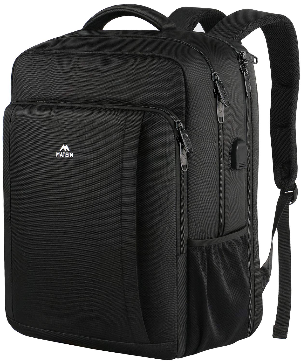 Matein Business Laptop Backpack, Extra Large Anti Theft TSA Friendly Travel Backpack With USB Charging Port, Durable Slim Computer Bag College School Bookbag for Women Men Fits 17 In Laptop,Black