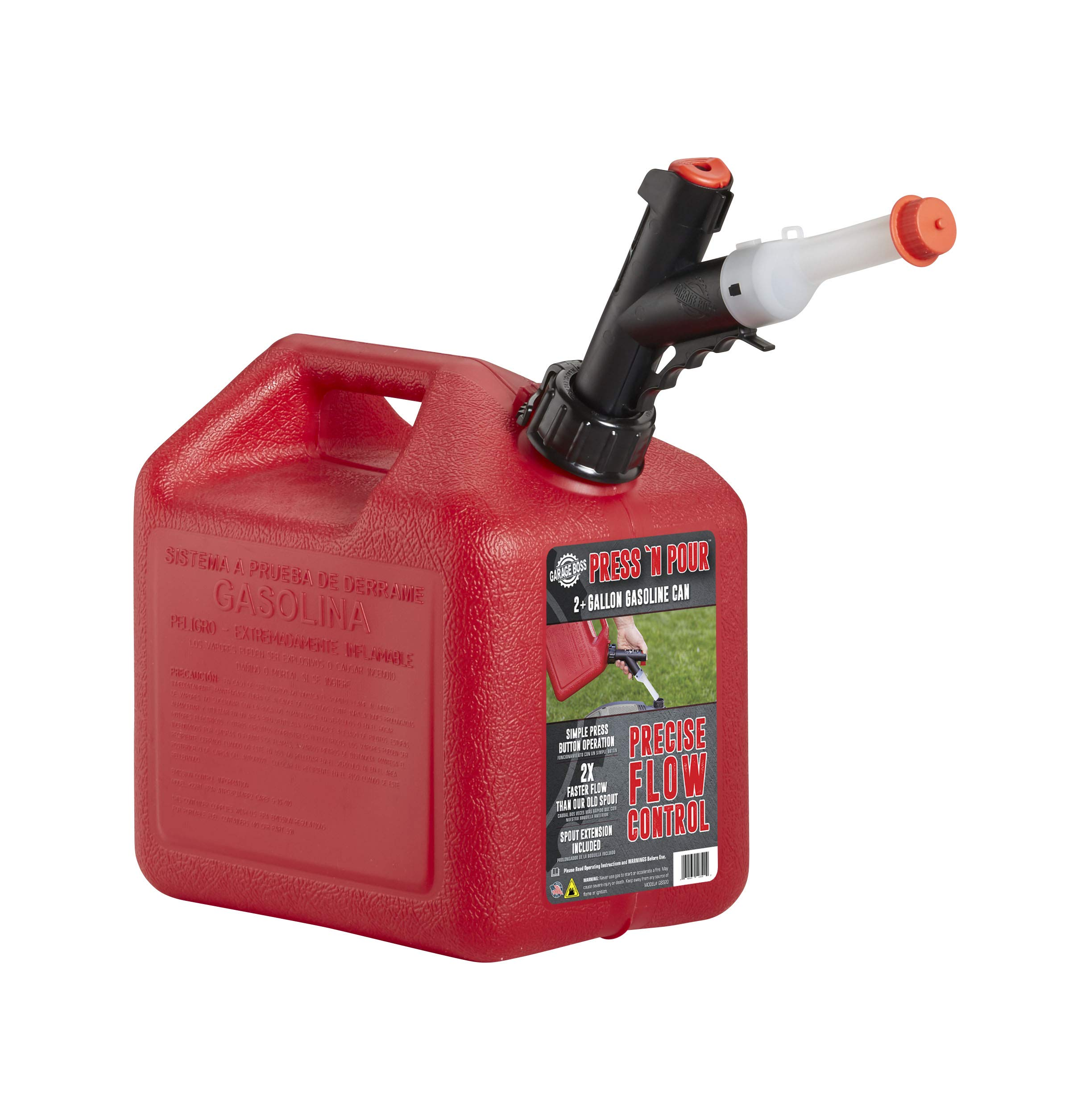 GarageBOSS GB320 Briggs and Stratton Press 'N Pour Gas Can, 2+ Gallon, Red