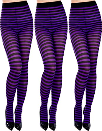 Purple /& Black Stripe Hoop Tights Witch Halloween Fancy Dress Striped Tights