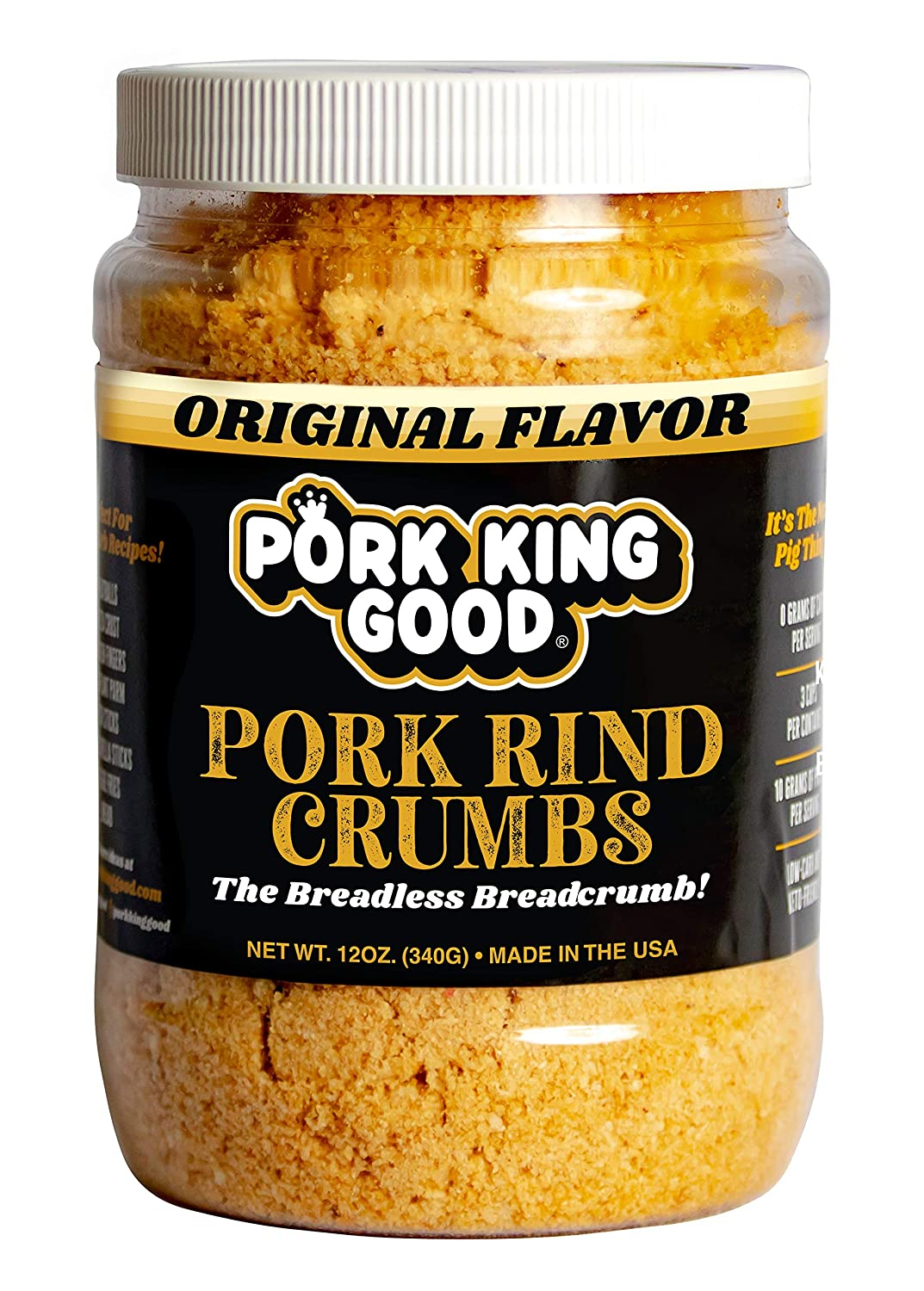 Pork King Good Low Carb Keto Diet Pork Rind Breadcrumbs! Perfect For Ketogenic, Paleo, Gluten-Free, Sugar Free and Bariatric Diets (Original) (Original, 12 Oz Jar)