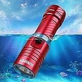 ダイビング ライト SUNSPOT  水中ライトCREE XM-L2 LED ハンディライト  懐中電灯 18650充電セット付き