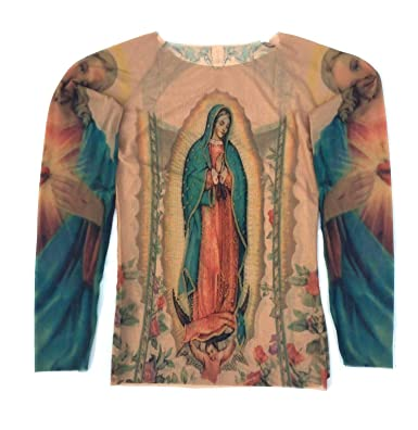 Wild Rose Ladies Guadalupe Tattoo Shirt Mother Mary Sacred Heart