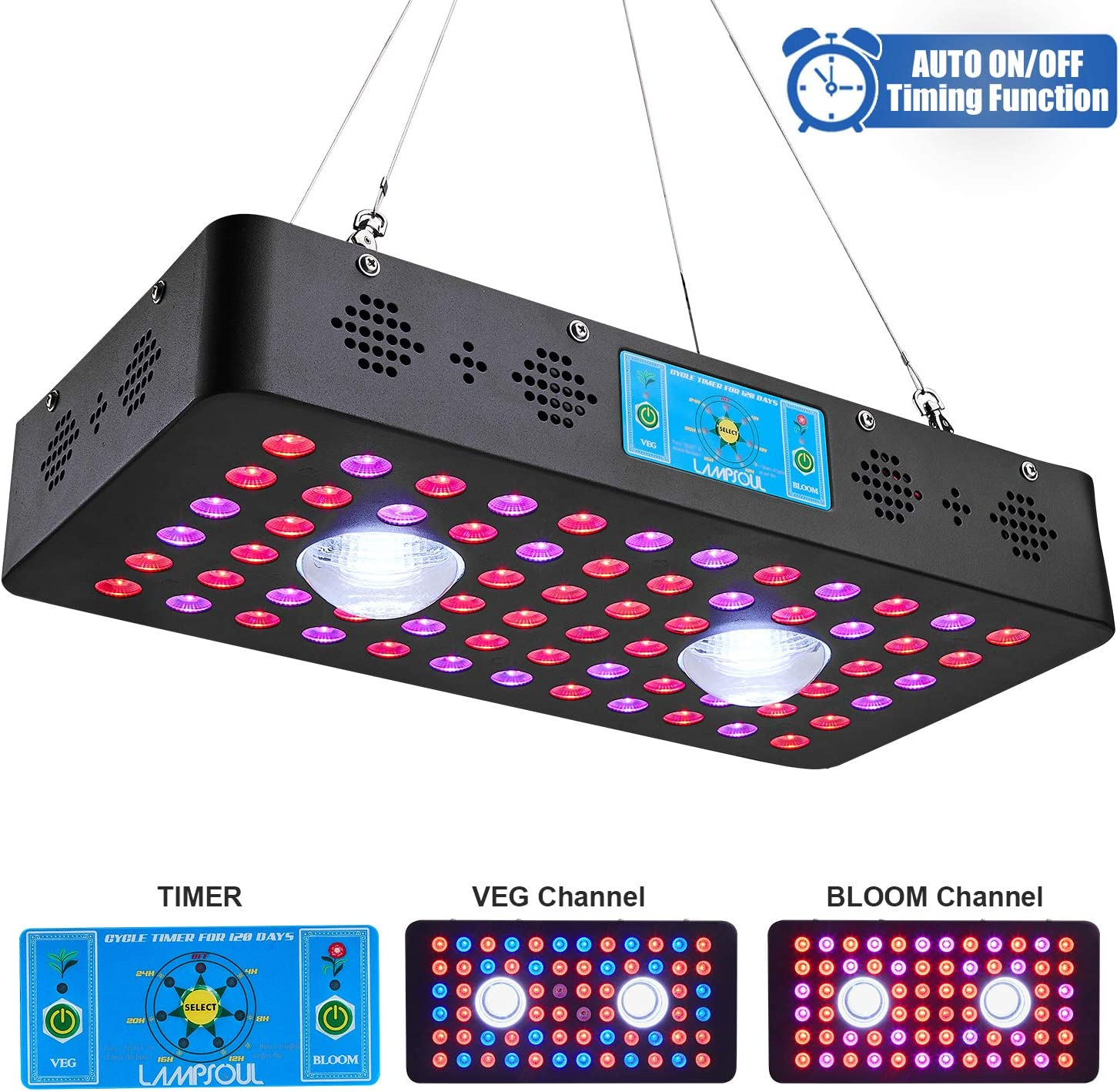 1200W COB LED Grow Light Full Spectrum LAMPSOUL LED Plant Growing Lamp with Auto On/Off Timer and Daisy Chain for Indoor Plants Veg and Flower (1200watt)