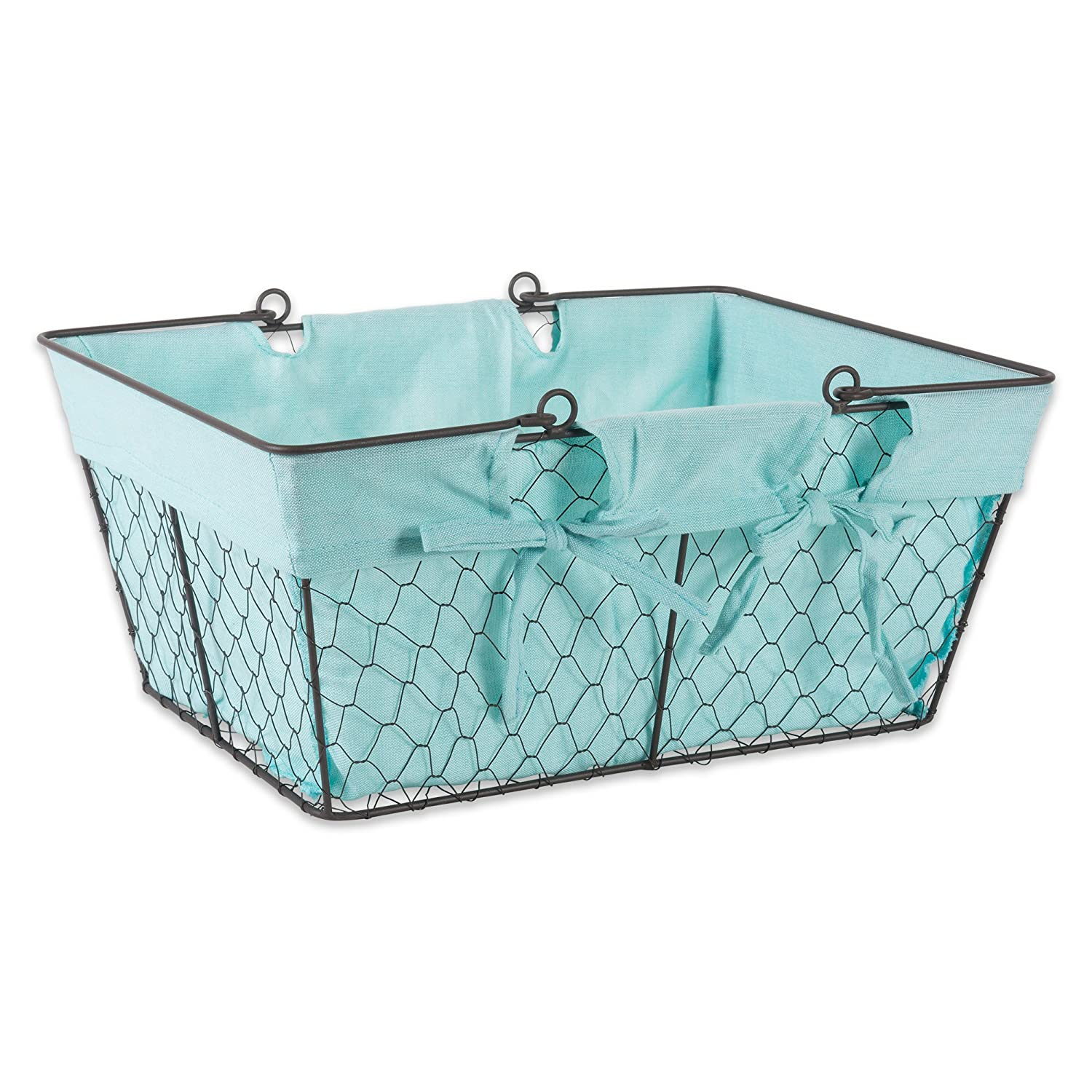DII Farmhouse Vintage Food Safe Metal Chicken Wire Storage Baskets with Removable Fabric Liner for Home Décor or Kitchen Use, Set of 2, Aqua Home Traditions Z01536