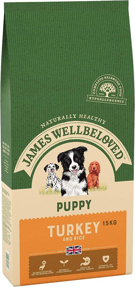 James Wellbeloved Alimento seco Completo para Cachorros de Pavo y arroz, 15 kg