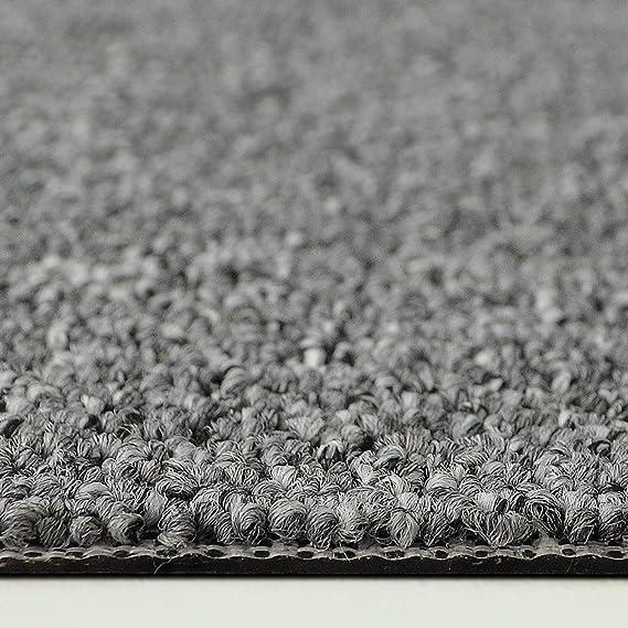 Design Teppichfliesen Kairo 50x50 cm selbstliegend A1 Grau, 4 St/ück antistatisch mit Bitumen R/ücken strapazierf/ähiger Teppich Bodenbelag mit hochwertigem Schlingenflor 1 m/² Set