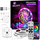 "Micomlan Led Strip Lights 49.2 ft, Music Sync Color Changing RGB LED Lights with Remote,""Smile Face""Controller and Bluetooth"