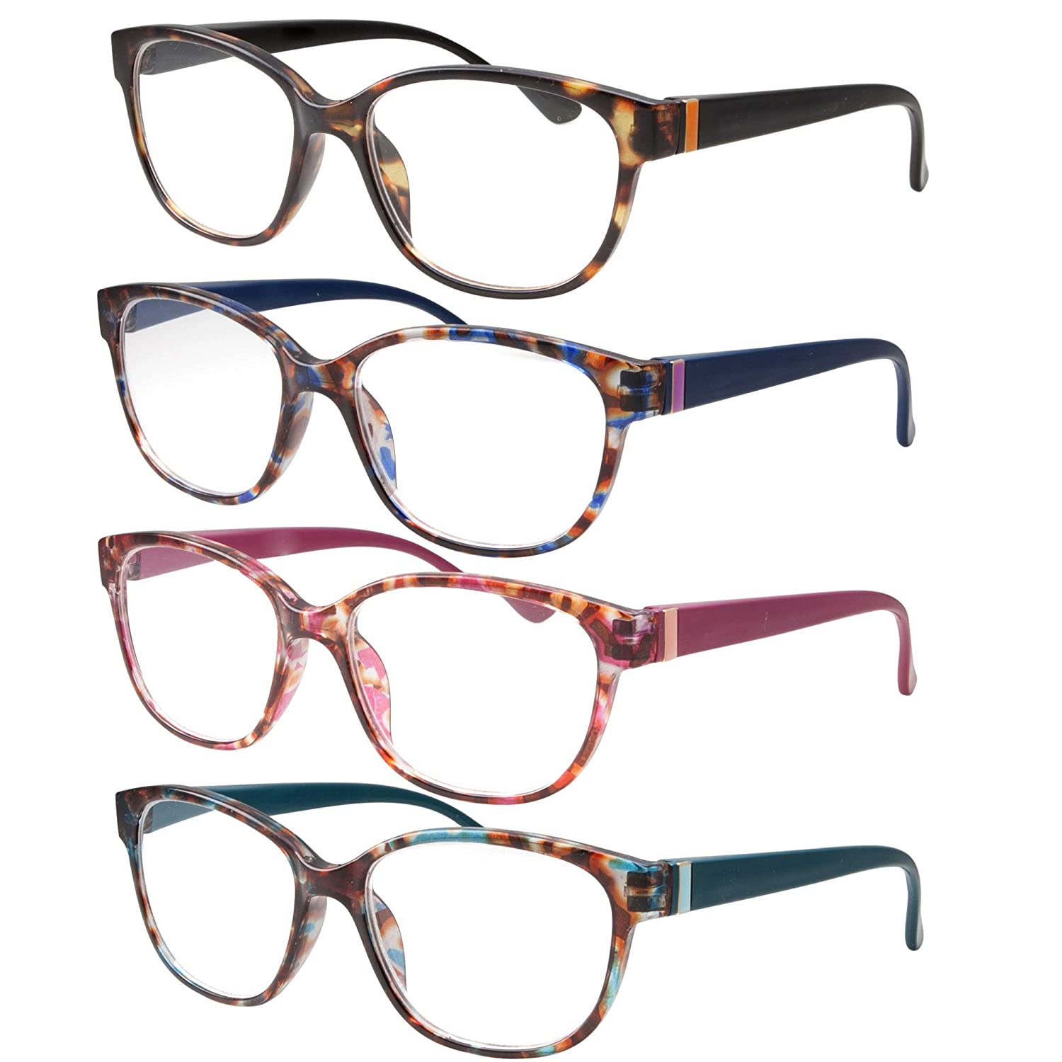 46ebe53221d2 Amazon.com  4 Pairs High Magnification Power Womens Reading Glasses - Cat  Eye Readers +4.00  Clothing