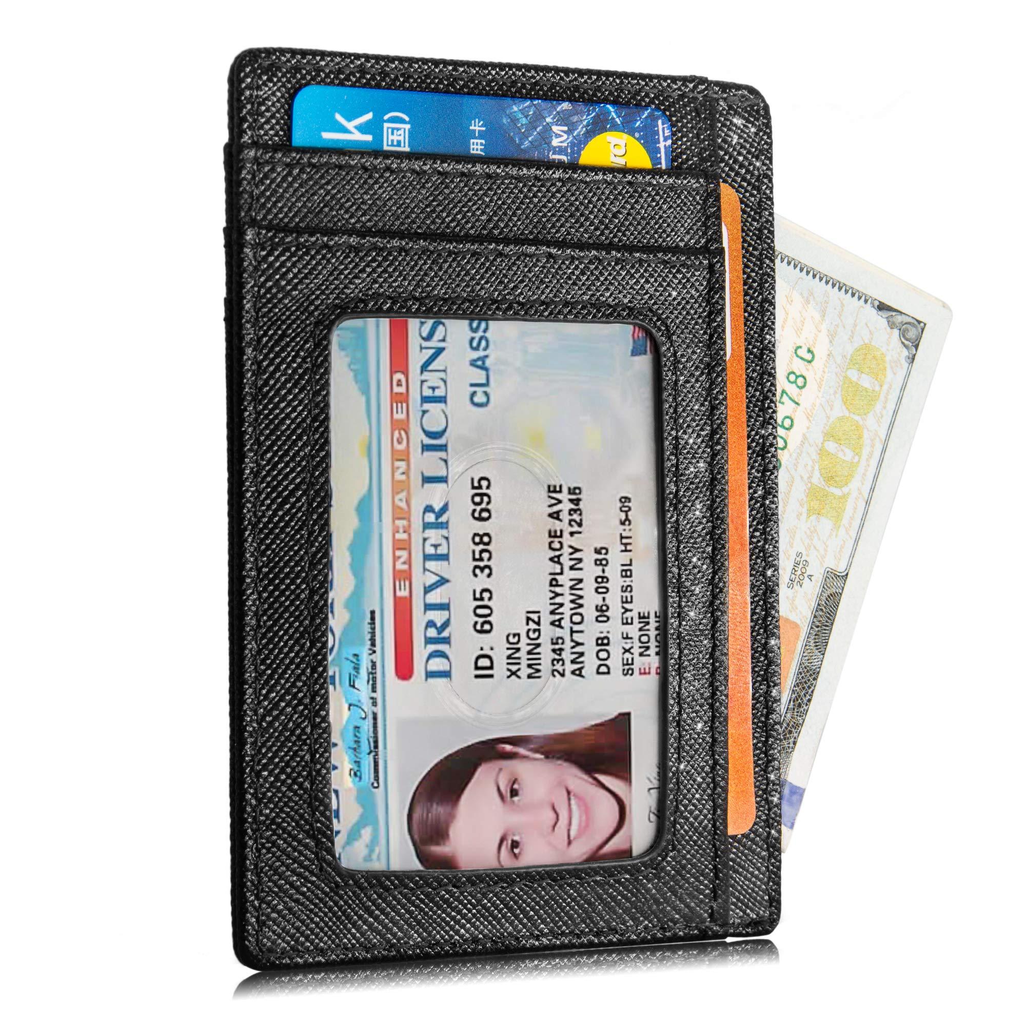 Hekate Slim Credit Card Holder Minimalist Genuine Leather RFID Blocking Wallet Front Pocket For Women