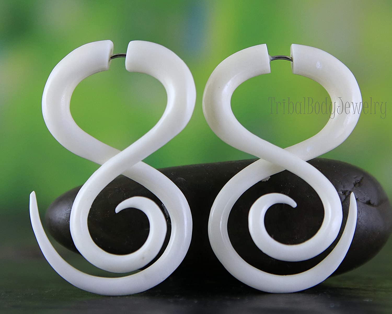 Bone Earrings Hand Carved Dragon Fake Gauge Organic Recycle Material for Regular Pierced Ear