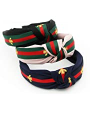 5f677167803 Red Green Stripe Headbands for Women - Hair Hoops with Bee Animal - Cross  Knot Hairbands