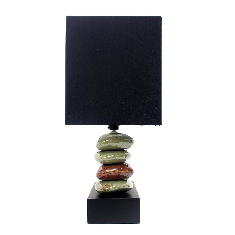 Amazon lamp shades tools home improvement - Elegant Designs Lt1036 Blk Rectangular Dual Stacked Stone Ceramic Table Lamp Black Stacked Rock Lamp Amazon Com