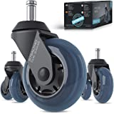 STEALTHO Patented Replacement Office Chair Caster Wheels Set of 5 - Protect Your Floor - Quick & Quiet Rolling Over Cables -