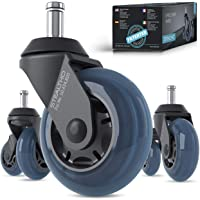 STEALTHO Replacement Office Chair Caster Wheels Set of 5 - Protect Your Floor - Quick & Quiet Rolling Over The Cables…