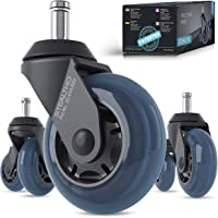 STEALTHO Patented Replacement Office Chair Caster Wheels Set of 5 - Protect Your Floor - Quick & Quiet Rolling Over…
