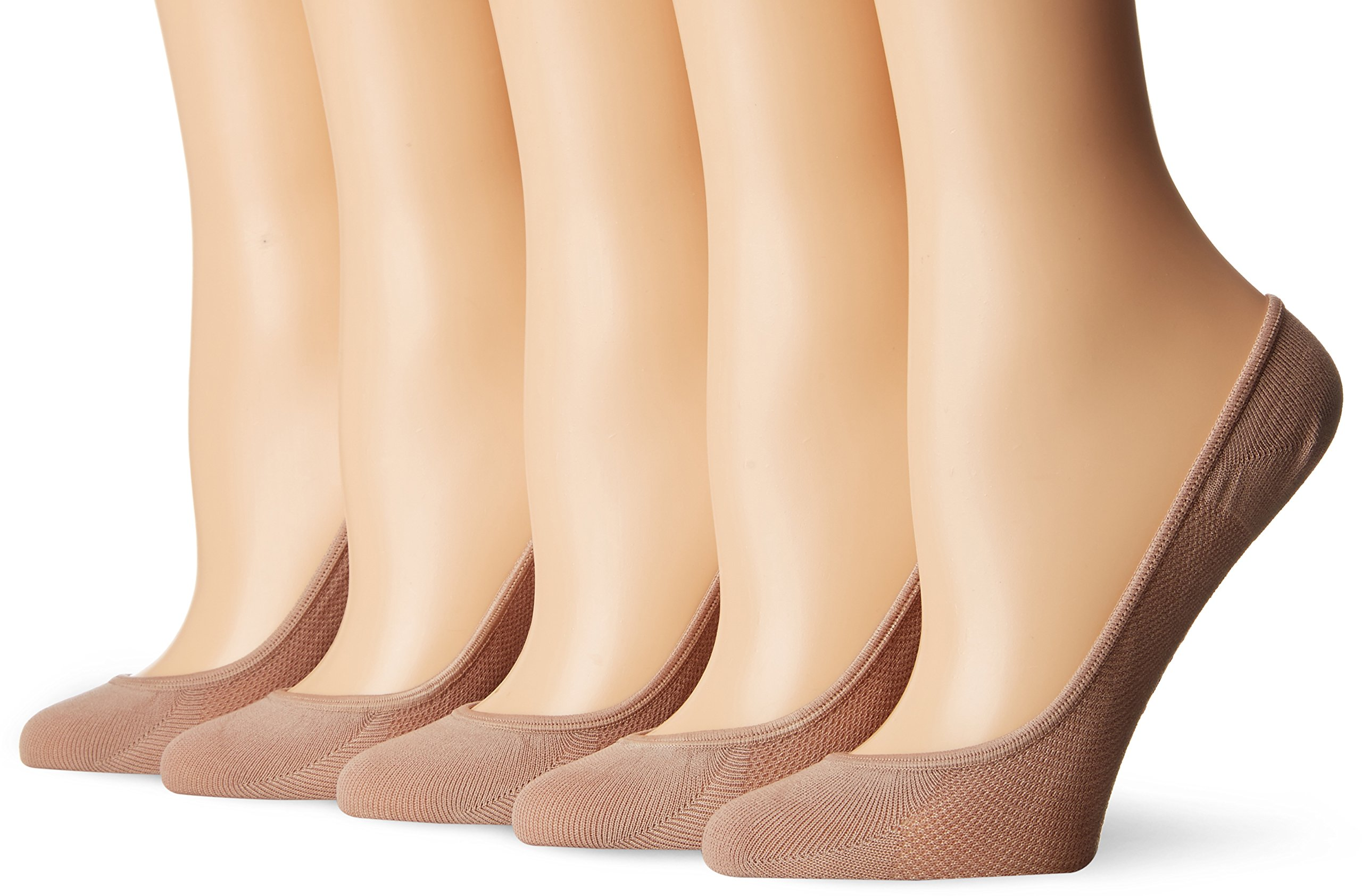 Steve Madden Legwear Women's Mesh Footie Sock 5 Pack, Nude, 9-11