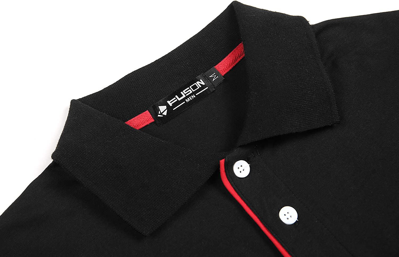 Kuson Herren Poloshirt Kurzarm Patchwork Sommer T-Shirt Mens Polo Shirt Baumwolle