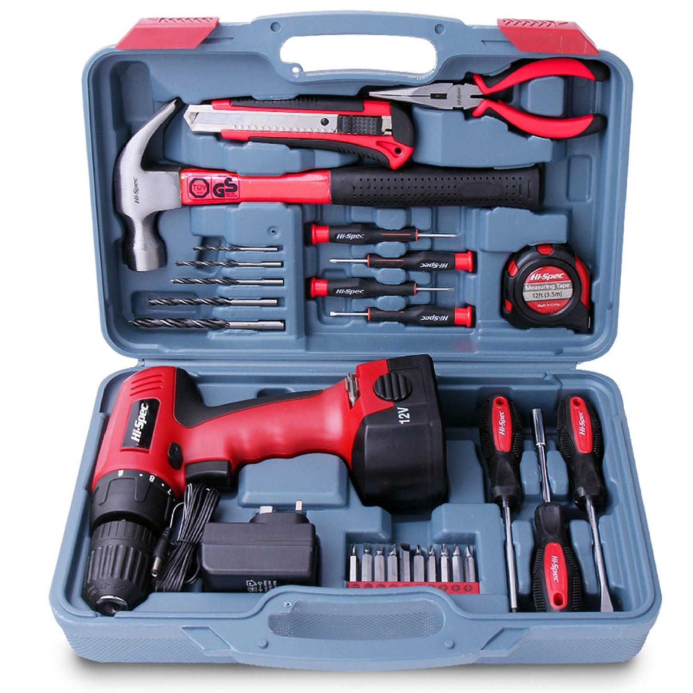 Amazon.com: Hi-Spec 26 Piece Household Tool Kit Including 12V ...