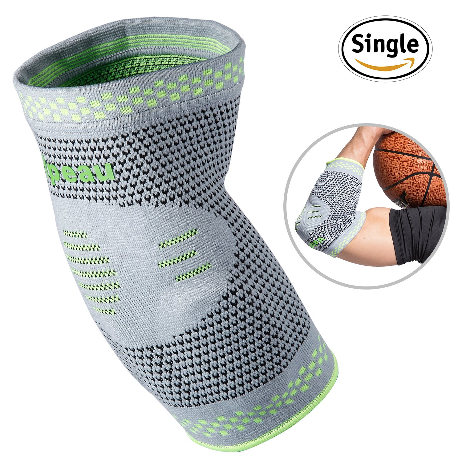 Elbow Brace Compression Sleeve with Gel Pads Support for Tendonitis, Tennis Elbow & Golf Elbow Treatment, Arthritis, Reduce Joint Pain During Any Activity for Women & Men by Velpeau (Medium)