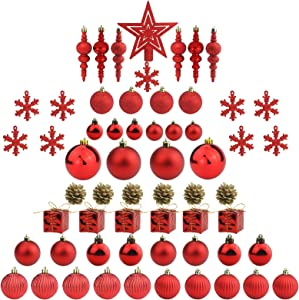 Sunnyglade 60ct Red Christmas Tree Ball Ornaments Set Shatterproof Christmas Bling-Bling Hanging Decoration with Hand-held Gift Package for Xmas Tree Holiday Wedding Party (Red)