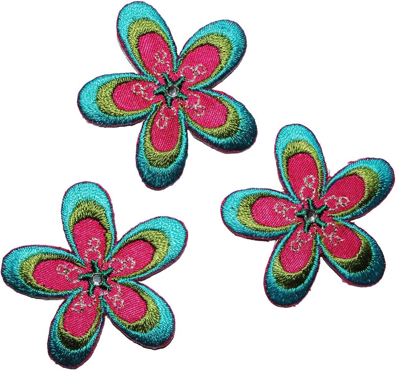 4 cm Aufb/ügler mit Pailletten ro.. Set /_ Blume blau gr/ün pink Bl/üten blau alles-meine.de GmbH 3 TLG Applikation pink Blumen Bl/üte gr/ün B/ügelbild // Aufn/äher