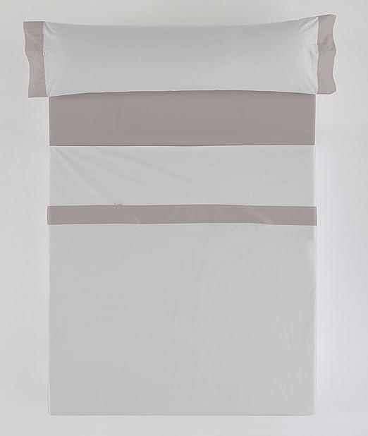 ESTELA - Juego de sábanas Lisos con Aplique Color Perla-Plomo (3 ...