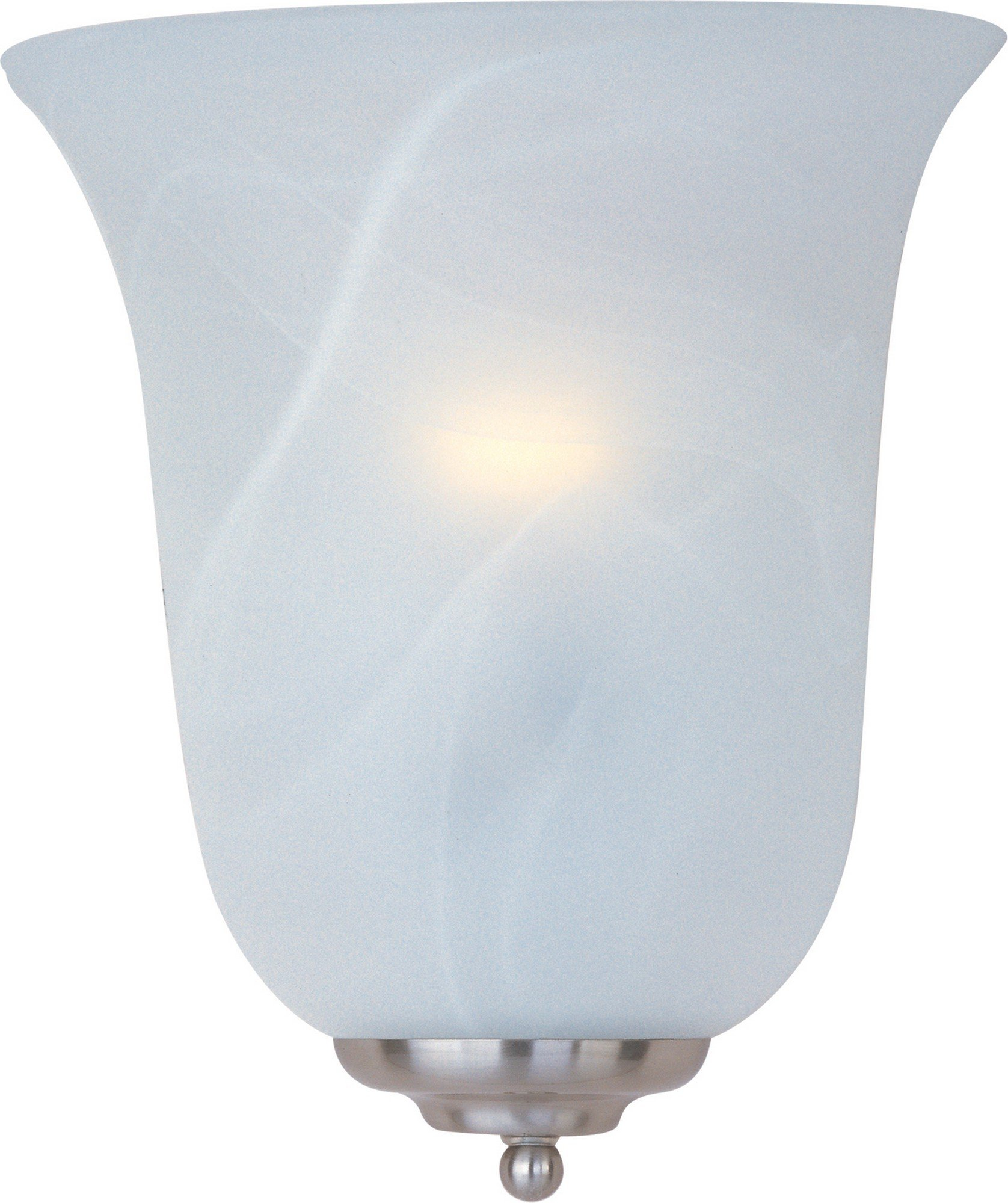Maxim 20581MRSN Essentials 1-Light Wall Sconce, Satin Nickel Finish, Marble Glass, MB Incandescent Incandescent Bulb , 100W Max., Dry Safety Rating, Standard Dimmable, Glass Shade Material, 10350 Rated Lumens