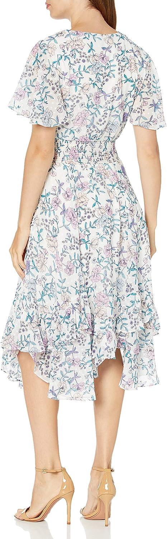 Tahari ASL Womens Short Sleeve V-Neck Smocked Tea Length Dress