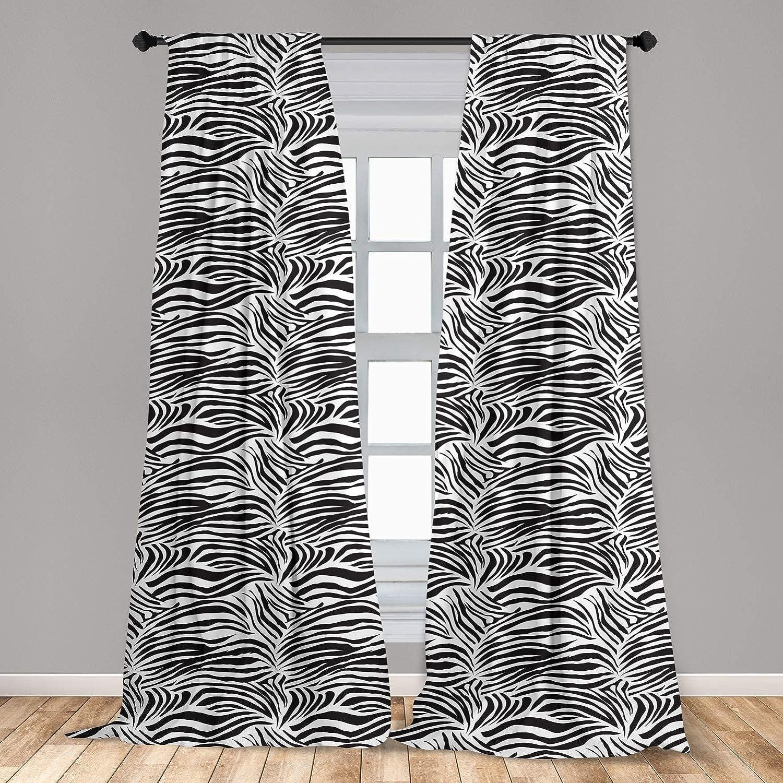 "Ambesonne Zebra Print Curtains, Striped Zebra Animal Print Nature Wildlife Inspired Simplistic Illustration, Window Treatments 2 Panel Set for Living Room Bedroom Decor, 56"" x 63"", Black White"