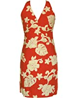 Sexy Halter - Bold Hibiscus Women's Fitted Dress