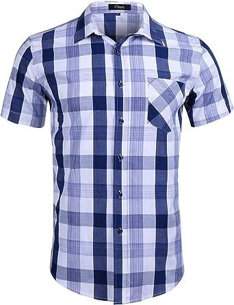 iClosam Camisa de Cuadros para Hombre Suelto Blusa de Manga Corta de Algodón Camisa Casual con Botón y Bolsillo: Amazon.es: Ropa y accesorios