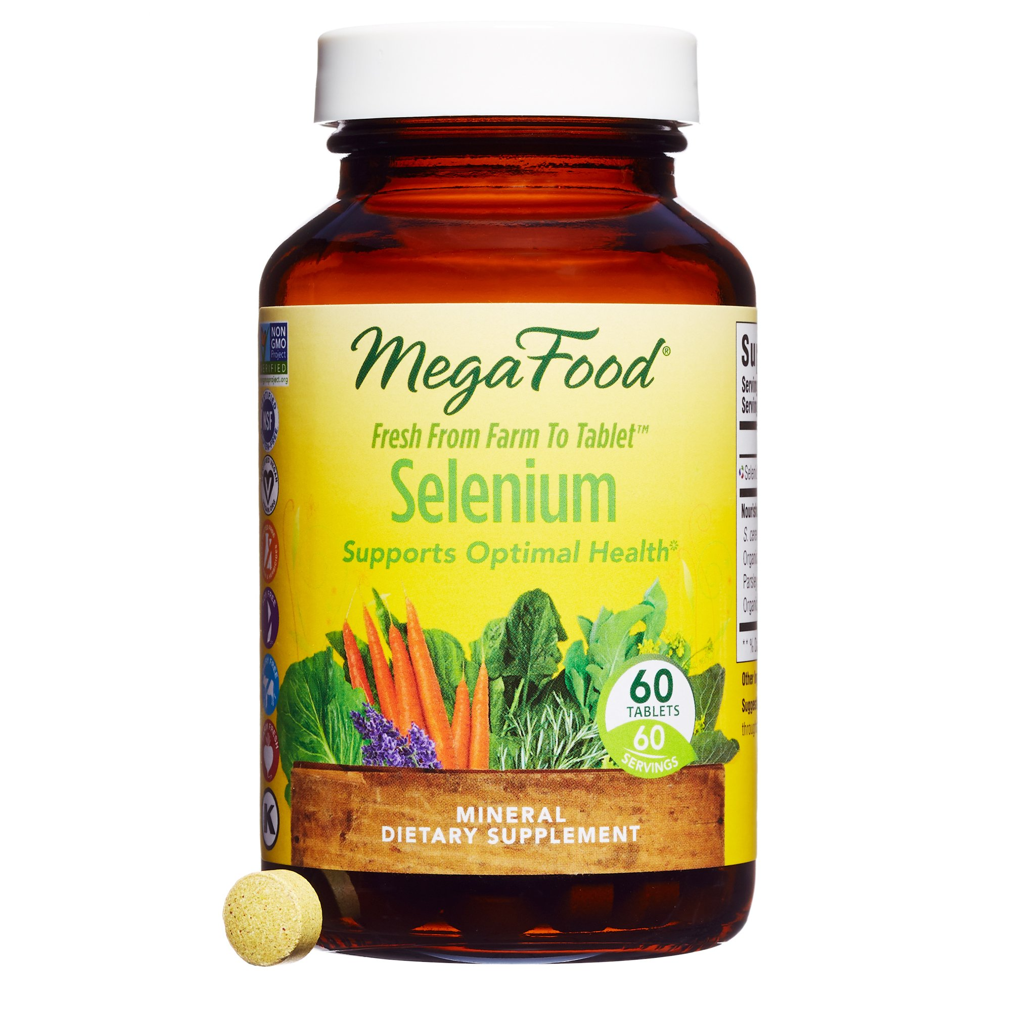 MegaFood - Selenium, Mineral Support for Immune Health Enhanced with Organic Foods and Botanicals, Vegan, Gluten-Free, Non-GMO, 60 Tablets (FFP)