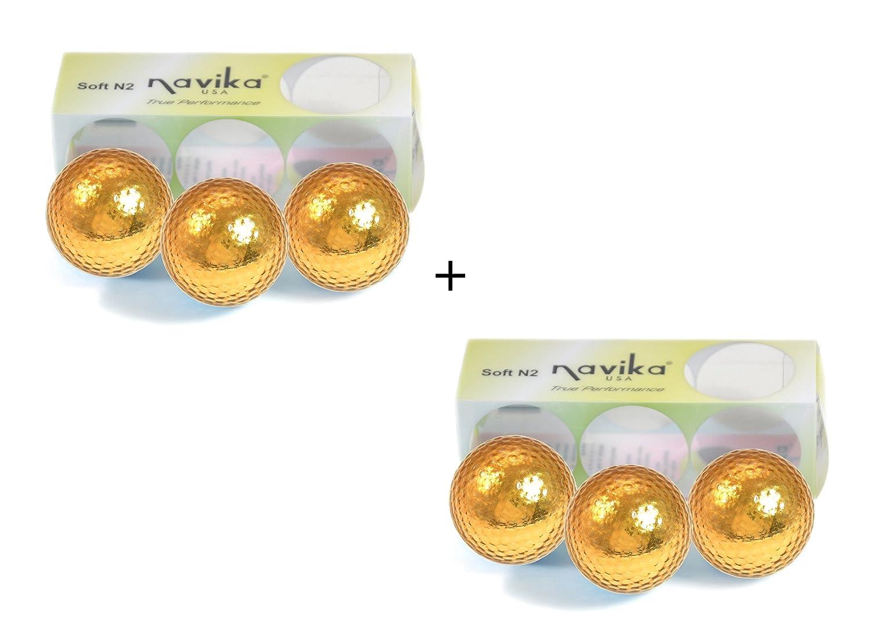 Navika Golf Balls- Gold Chrome Metallic High Visibility Color 6-Pack