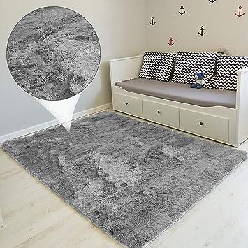 Amazinggirl Hochflor Shaggy Langflor Teppich - für Wohnzimmer Schlafzimmer  modern flauschig Läufer Wohnzimmerteppich waschbar Indoor Outdoor GRAU 160  ...