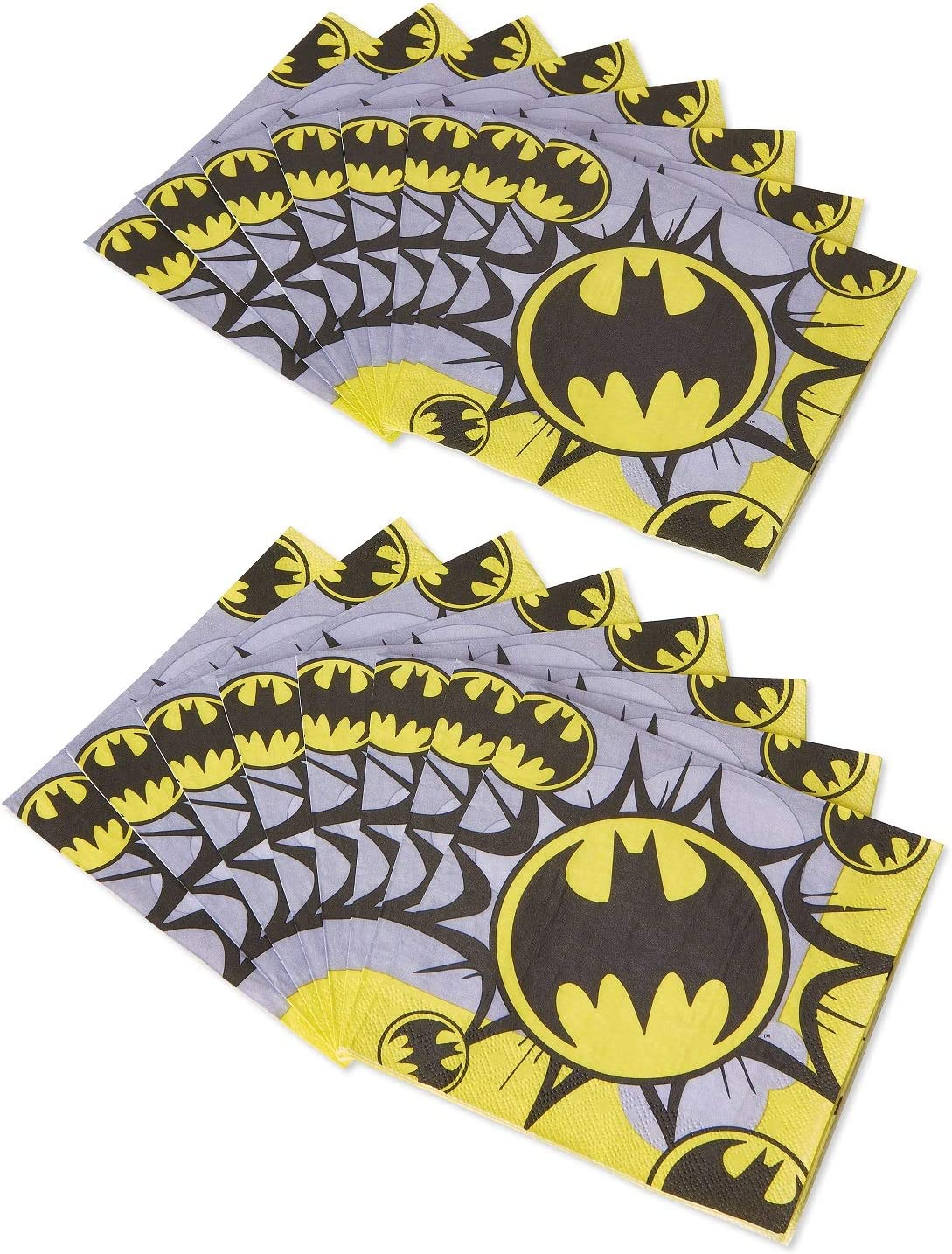16 Dinner Napkins 16 Dessert Plates and 1 Tablecover Includes 16 Dinner Plates Batman Party Supplies Tableware Bundle Pack for 16 Guests