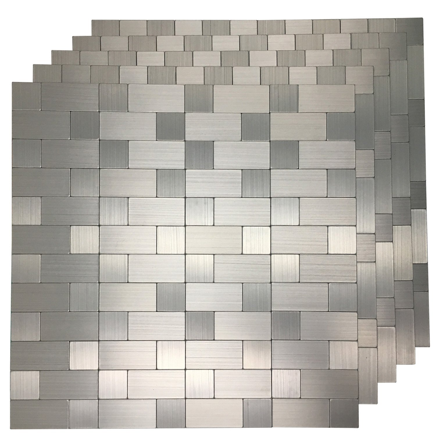 Art3d 5 Piece Peel and Stick Tile Metal Backsplash for Kitchen, Silver Aluminum Surface
